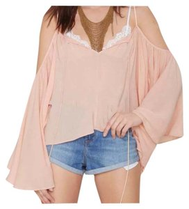 Other Bohemian Romantic Crop See Through Sexy Top Pink