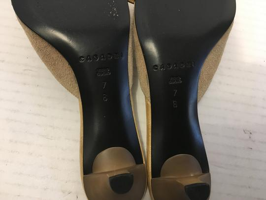 Casadei Jewelled Made Italy Tan suede all leather gorgeous front embossed strap silver buckle covered with stones Italian closed Mules