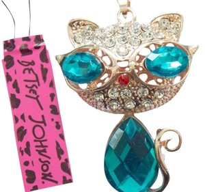 Betsey Johnson NWT Betsey Johnson Crystal Cat w/ Goggles Pendant Necklace