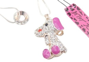 Betsey Johnson NWT Betsey Johnson Pink Crystal Poodle Pendant Necklace