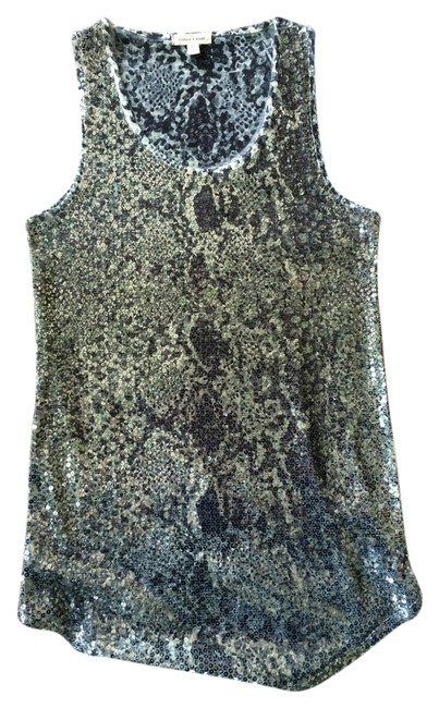Silence + Noise Top Sequin Front Green/Gray Reptile
