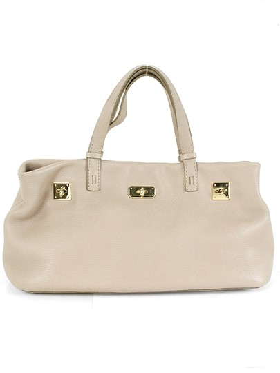 VBH Pebbled Leather Gold Hardware Satchel in Beige, Stone Grey, Gray Image 1