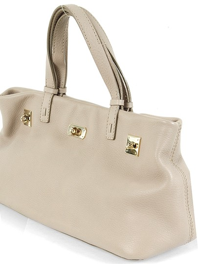 VBH Pebbled Leather Gold Hardware Satchel in Beige, Stone Grey, Gray Image 2