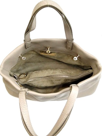 VBH Pebbled Leather Gold Hardware Satchel in Beige, Stone Grey, Gray Image 3