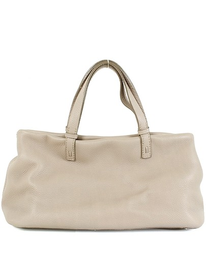 VBH Pebbled Leather Gold Hardware Satchel in Beige, Stone Grey, Gray