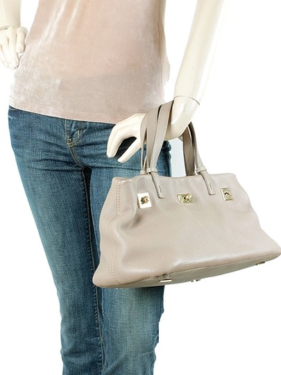 VBH Pebbled Leather Gold Hardware Satchel in Beige, Stone Grey, Gray Image 5