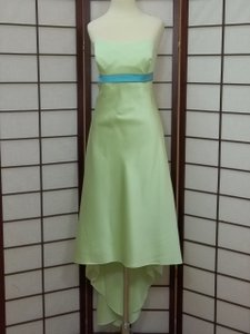 Alfred Angelo Pistachio Pool Satin 7004 Modern Bridesmaid/Mob Dress Size 14 (L)