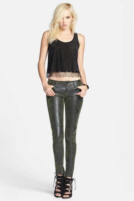 ASTR Fringe Burnout Embellished Crop Cropped Beaded Animal Print Velvet Fringed Nordstrom Top Black