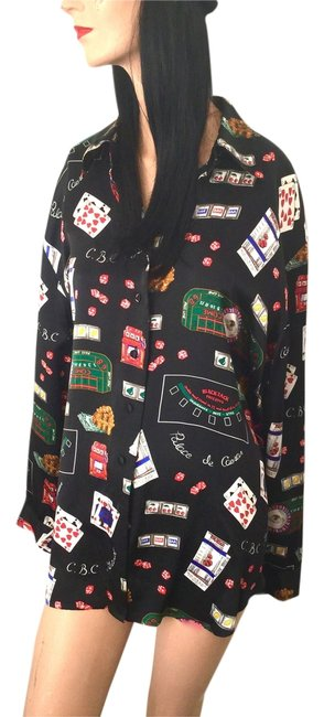 Corey B. Gambling Vegas Collectable Fun Designer Plus Size Cards Roulette Black Jack Top Casino Silk Blouse