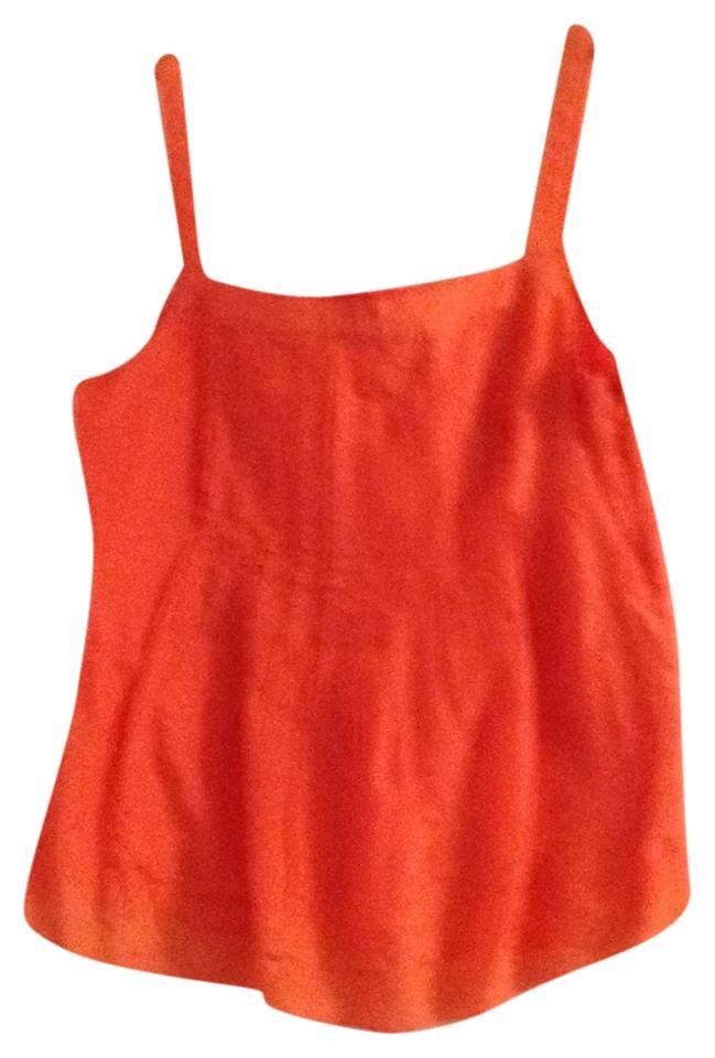 cd5386fef553ba J.Crew Sweet Orange Silk-cotton Pintuck Tank Top Cami Size 6 (S ...
