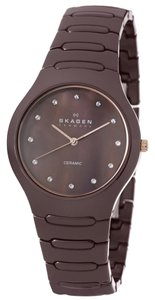 Skagen Denmark Skagen Denmark Women's Brown Ceramic Brown Mother of Pearl Dial Quartz Watch 817SDXCR