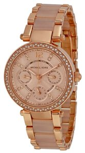 Michael Kors Michael Kors Rose Gold with Blush Acetate and Crystal Pave Bezel Ladies Designer Watch