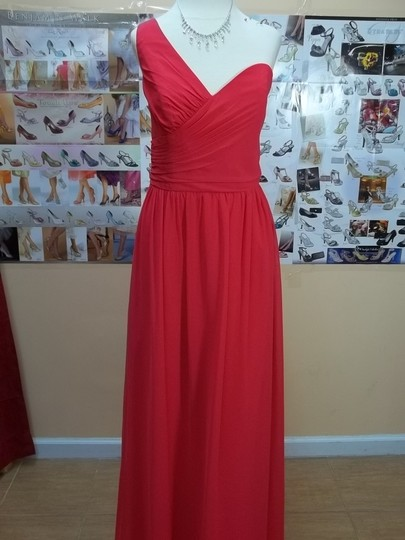 Alfred Angelo Pomegranate Chiffon 7257 Modern Bridesmaid/Mob Dress Size 12 (L)
