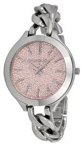 Michael Kors Michael Kors Pink Crystal Pave Dial Silver Chain Twist Designer Ladies Watch