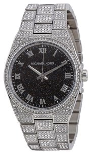 Michael Kors Michael Kors Crystal Pave Silver Tone with Black Dial Ladies Designer Watch