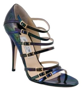Jimmy Choo Shine Buckles Strappy Stiletto Peacock Black Pumps