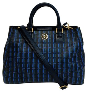 Tory Burch Blue Satchel in Blue/ Deep Sea Split Multi