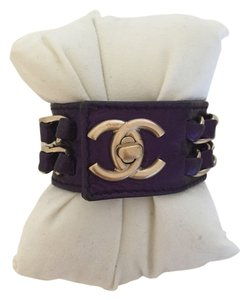 Chanel Chanel Purple Metallic Calfskin Chain Detail Cuff Bracelet