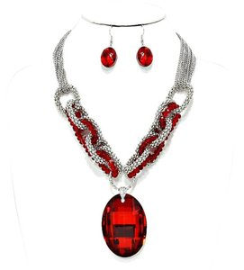 Retro Chic Red Oval Crystal Charm Silver Chain Necklace and Earring