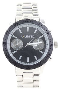 Other Unlisted 10024684 Men's Silver Tone Analog Watch With Black Dial