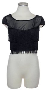 Millau Crop Tassle Sheer Lf Top Black