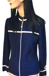 St. John Designer Collection Knit Crest Emblem Navy Couture Jacket Knit Jacket Sweater
