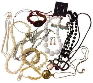 14 Pieces Fashion Jewelry Lot Mixed Items - Locket Watch, Necklaces, Bracelets
