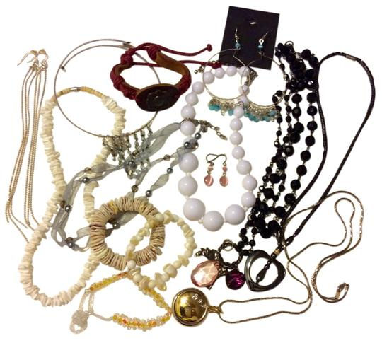 Other 14 Pieces Fashion Jewelry Lot Mixed Items - Locket Watch, Necklaces, Bracelets