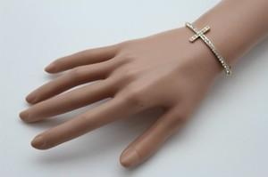 Other Women Gold Metal Chain Fashion Wrist Bracelet Long Cross Silver Rhinestones
