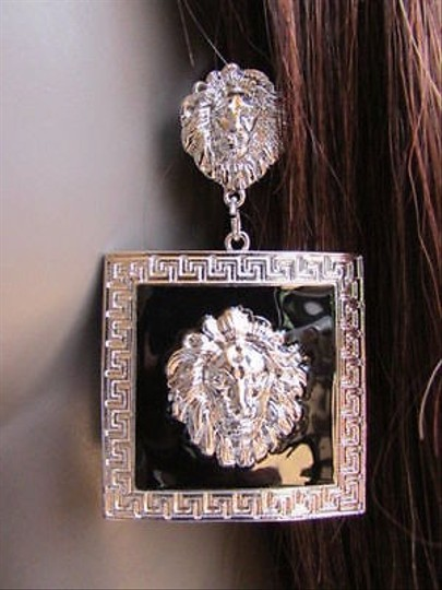 Other Women Silver Black Earring Metal Lion Square Head Face Hook Fashion Dangle