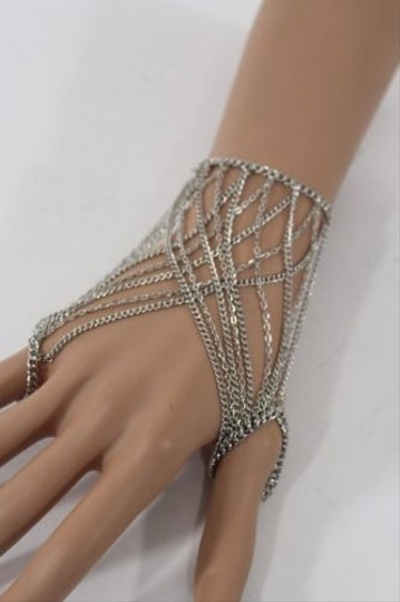 Other Women Silver Metal Thin Hand Multi Chain Bracelet Fashion Double Slave Ring