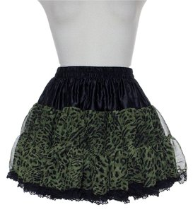 Millau Tiered Layered Lace Trim Swing Mini Skirt Green