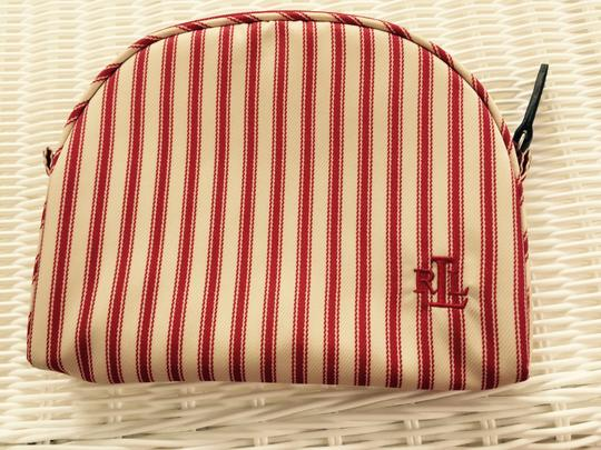 Ralph Lauren FREE SHIPPING TODAY RALPH LAUREN RED&IVORY STRIPED NEW NEVER USED SMALL COSMETIC CASE WITH IVORY LINING AND GREEN RALPH PATCH INSIDE NEW NO MARKS OR STAINS