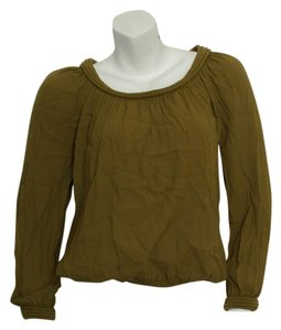 Max Studio Boho Bohemian Loose Loose Fit Gypsy Hippie Hippy Hipster Yoga India Indian Elastic Viscose Crepe Raffia Olive Green Long Top olive/khaki green