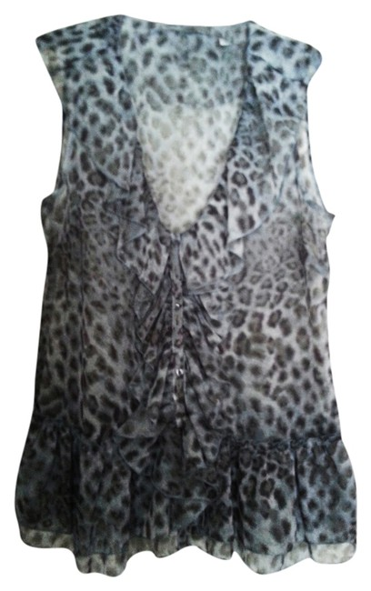 New York & Company Top Blue Leopard Image 0