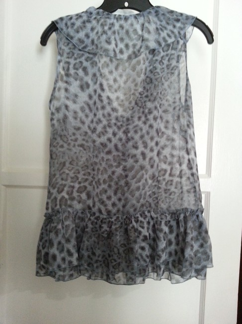 New York & Company Top Blue Leopard