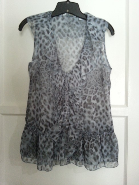 New York & Company Top Blue Leopard Image 6