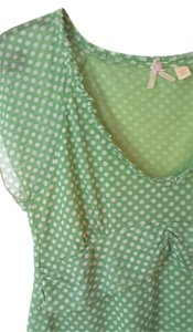Anthropologie Maeve Green Top Polka Dots