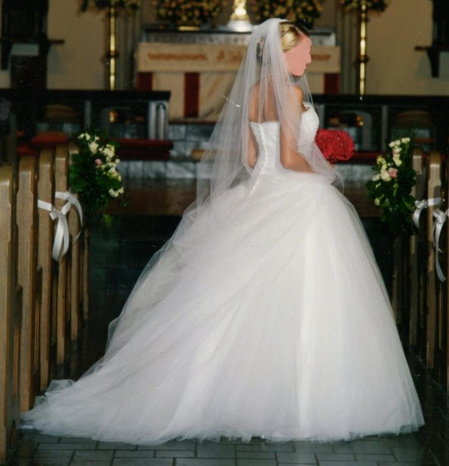 Mori lee tulle ballgown and cathedral length veil wedding for Wedding dress with veil