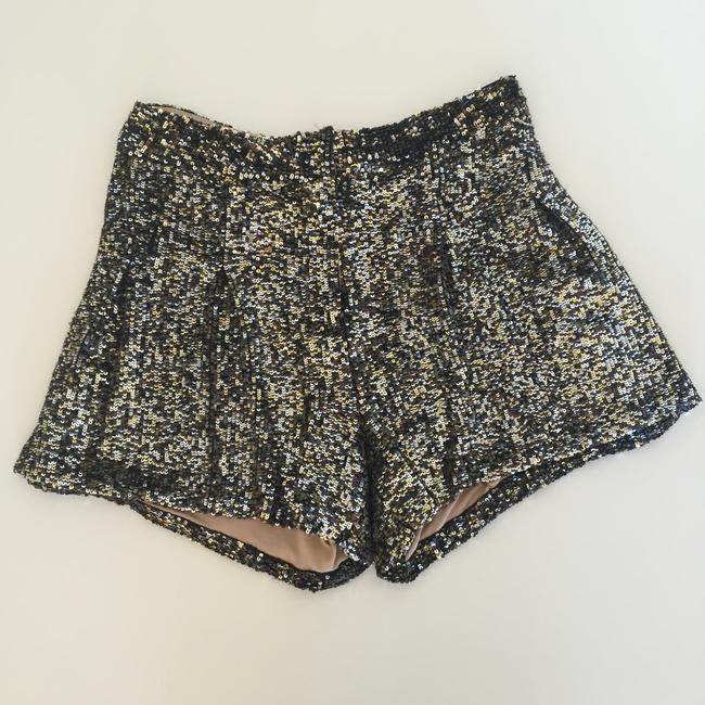 Neiman Marcus Sequined Dress Shorts Gold