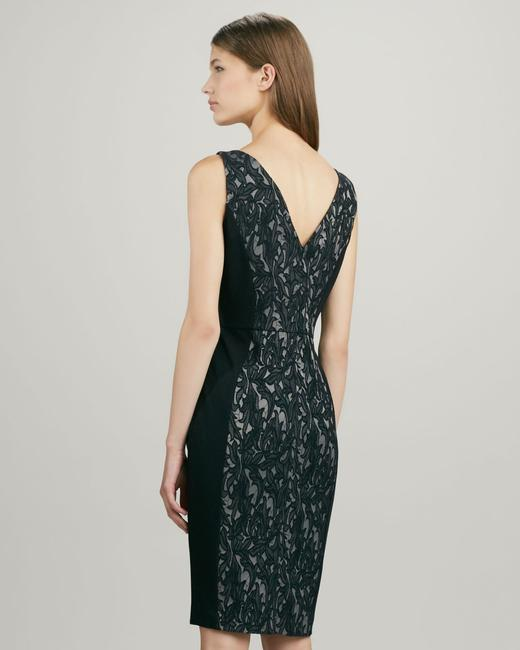 French Connection V-neck V-back Sheath Lace Overlay & Nude Work Office Night Out Date Night Holiday Lace Dress