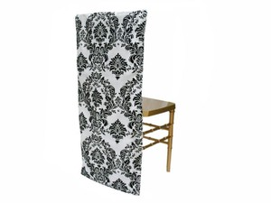 Black & White Damask Chiavari Chair Covers E
