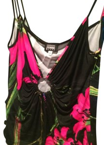 Gianfranco Ferre Top Black w/ Pink flowers