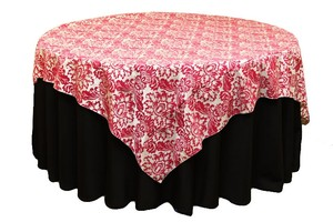 "Other 9 Fuchia & White Damask Table Linen Fushia 72"" Ov"