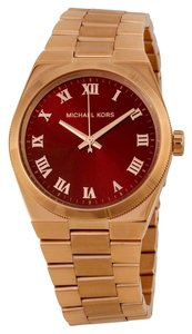 Michael Kors Michael Kors Red Dial Rose Gold Ladies Designer watch