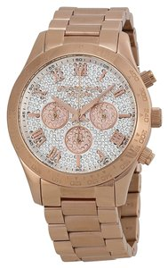 Michael Kors Michael Kors Rose Gold Crystal Pave Dial Sporty Ladies Designer Watch