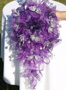 Purple Wedding Bouquet & Matching Headpiece