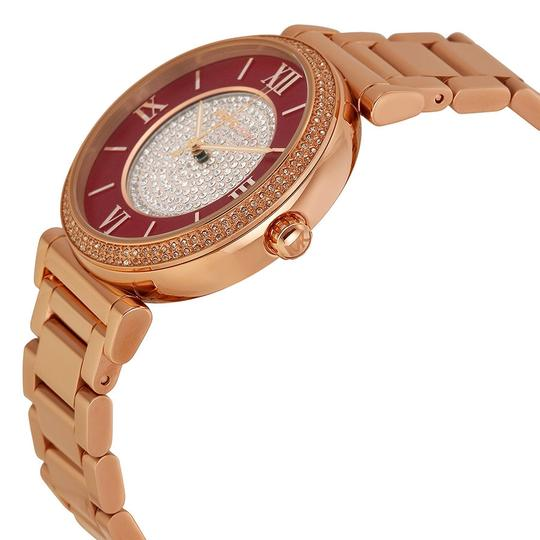 Michael Kors Michael Kors Crystal Pave and Red Dial Rose Gold Ladies Designer Watch