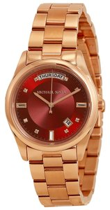 Michael Kors Michael Kors Red Dial and Rose Gold Ladies casual Designer Watch