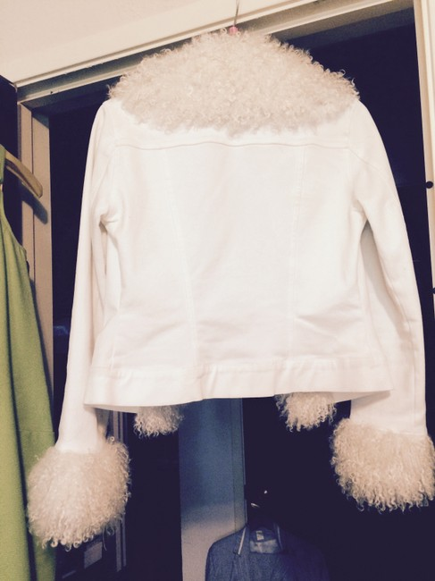 bebe Curly Lamb Trim white Jacket